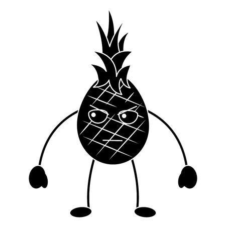 Een zwart-wit ontwerp van het het pictogrambeeld van het ananas boos fruit kawaii Stock Illustratie