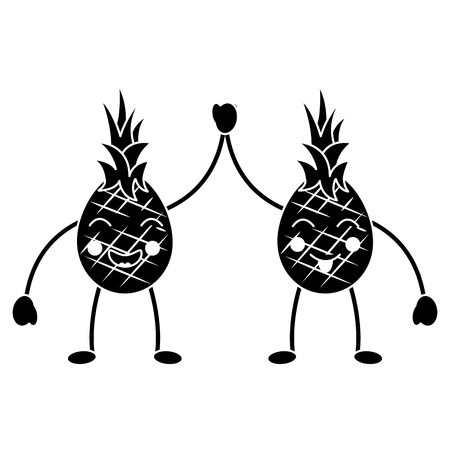 Pineapples high five happy fruit icon image. Vector illustration design black and white.