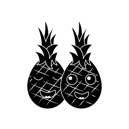 pinapples happy fruit kawaii icon image vector illustration design  black and white Illustration
