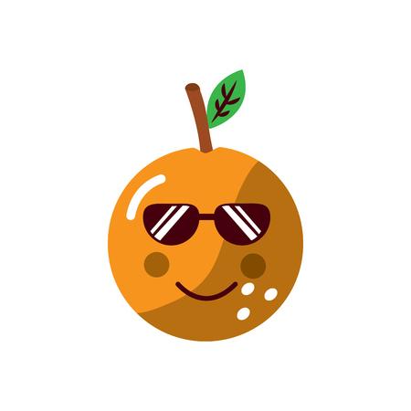 Orange wearing sunglasses happy fruit icon image. Vector illustration design. Illustration