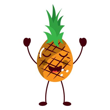 pineapple happy bliss fruit  icon image vector illustration design