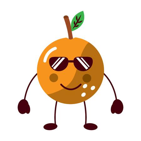 orange wearing sunglasses happy fruit  icon image vector illustration design