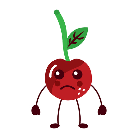 cherry sad fruit  icon image vector illustration design Illustration