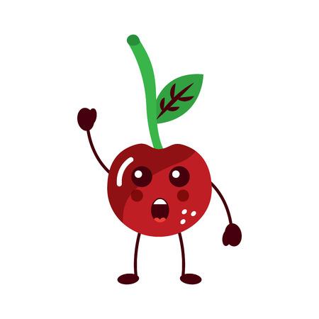 cherry yelling talking fruit kawaii icon image vector illustration design