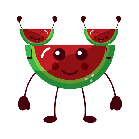 watermelons happy fruit  icon image vector illustration design
