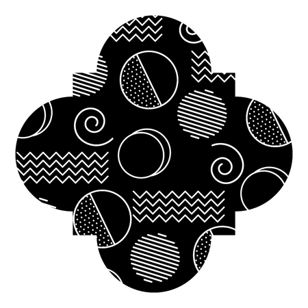seamless pattern label shape with geometric memphis style vector illustration
