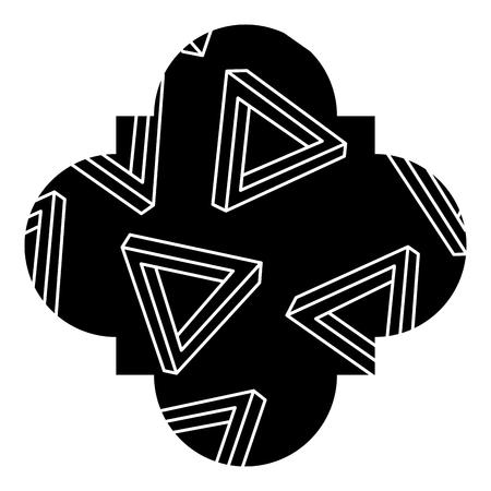 幾何学的なメンフィス様式のベクトルのイラストが付いているシームレスなパターンラベルの形