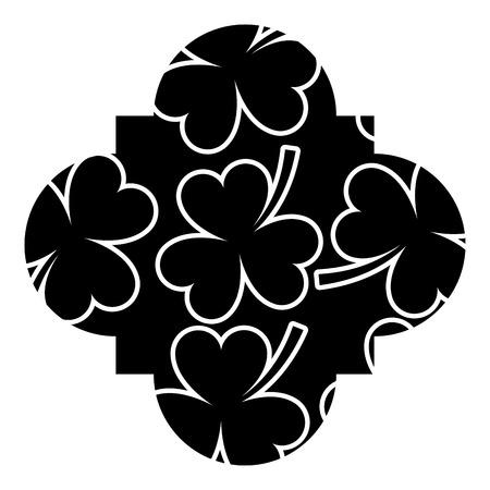 Pattern shape label st patrick day clover vector illustration Illustration