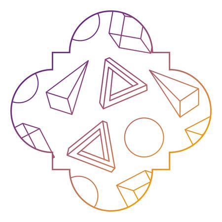 seamless pattern label shape with geometric memphis style vector illustration blur line design