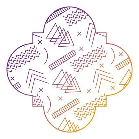 幾何学的なメンフィス様式ベクトルイラストぼかしラインデザインのシームレスなパターンラベル形状