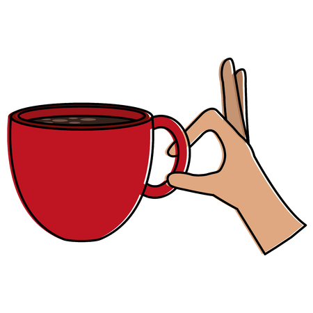 Hand with coffee cup hot icon vector illustration design