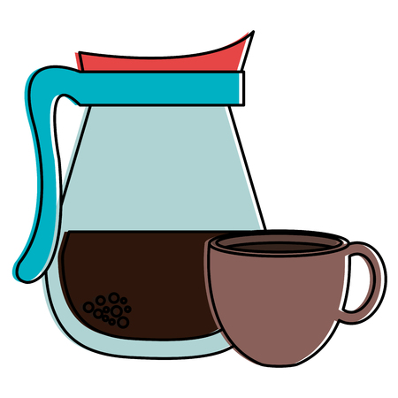 kettle with coffee cup hot icon vector illustration design