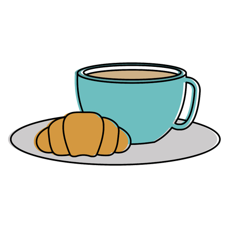 coffee cup hot with bread vector illustration design