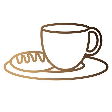 빵 벡터 일러스트 레이 션 디자인 뜨거운 커피 컵