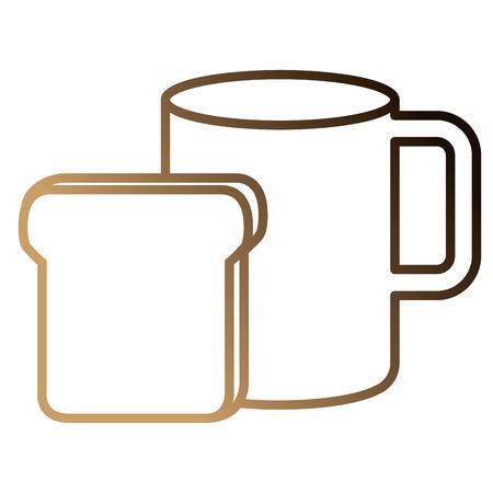 パンベクトルイラストデザインで熱いコーヒーカップ