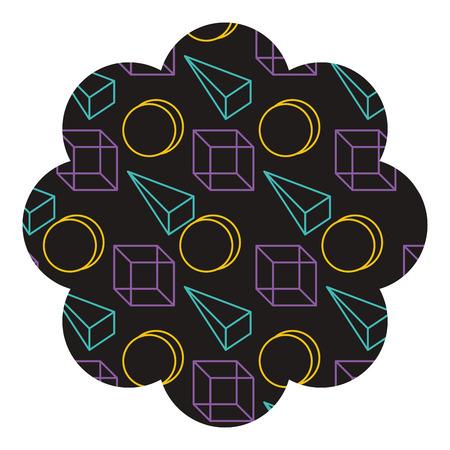 badge flower shape with memphis pattern design vector illustration 版權商用圖片 - 93919452