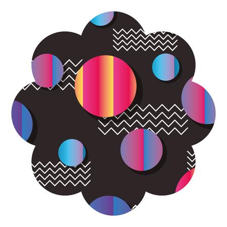 badge flower shape with memphis pattern design vector illustration