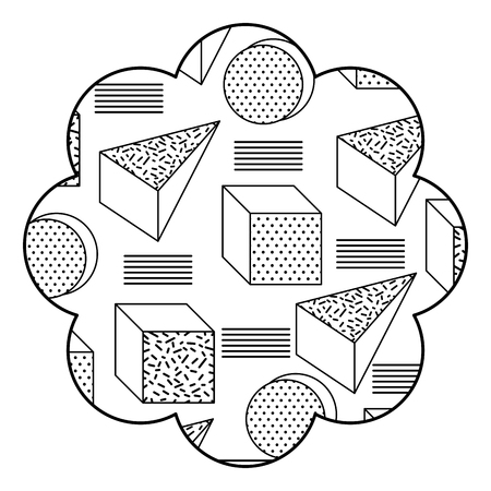 badge flower shape with memphis pattern design vector illustration 版權商用圖片 - 93863746
