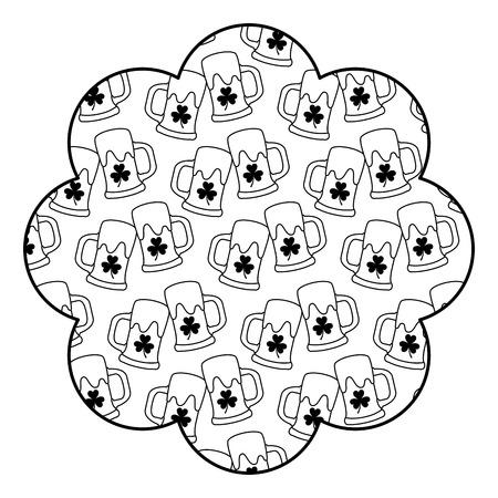 A badge flower shape st patrick day beer glass clover vector illustration