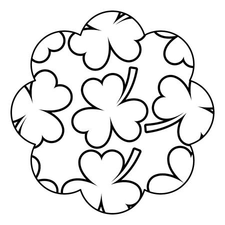 Pattern shape label star St Patrick day clover vector illustration.