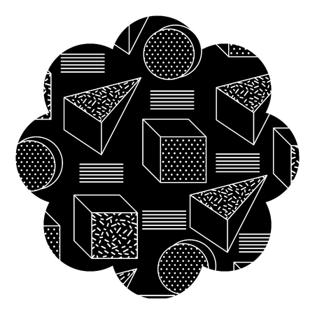 Badge flower shape with Memphis pattern design vector illustration.
