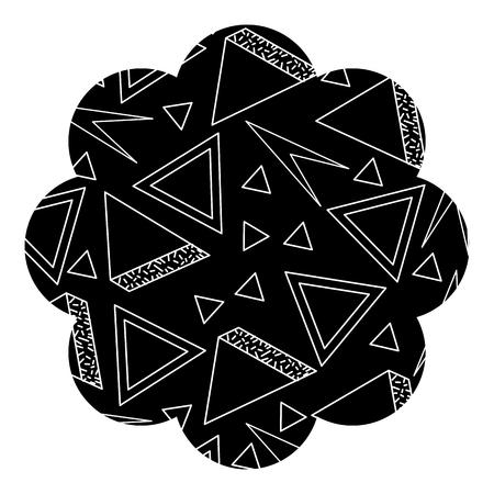 Badge flower shape with memphis pattern design vector illustration. 向量圖像