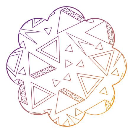 badge flower shape with memphis pattern design vector illustration blur line design