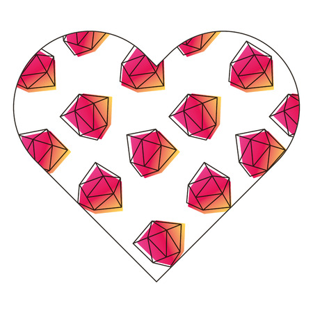 Label shape heart different geometric figures vector illustration.