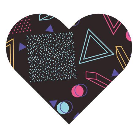 label shape heart different geometric figures vector illustration