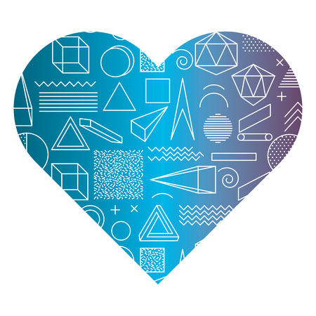 Label shape heart with different geometric figures vector illustration.