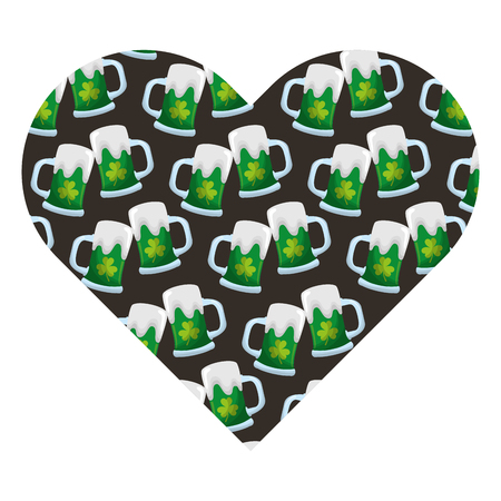 label shape heart with beer glass and clover vector illustration