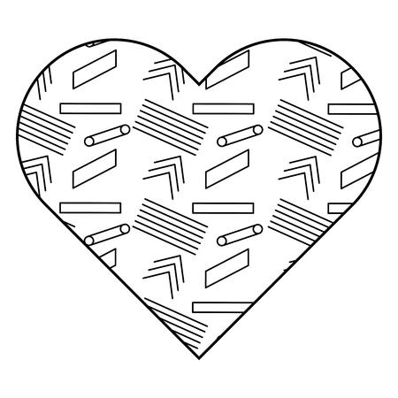異なる幾何学的な数字を持つラベル形状のハート。ベクトルイラストアウトライン画像。  イラスト・ベクター素材