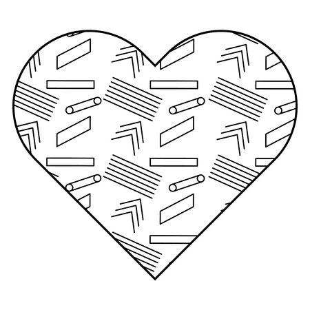 Label shape heart with different geometric figures. Vector illustration outline image.