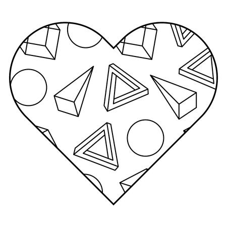 레이블 셰이프 심장 다른 기하학적 인물입니다. 벡터 일러스트 레이 션 개요 이미지입니다.