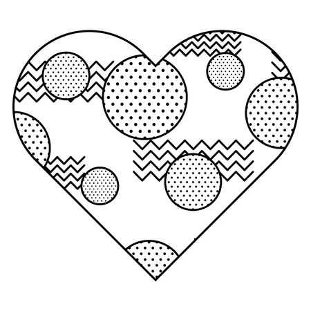 Label shape heart different geometric figures. Vector illustration outline image.