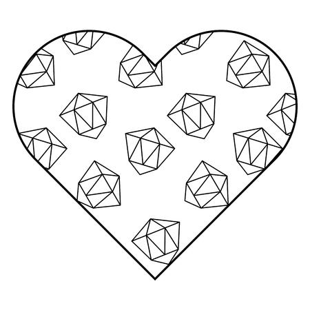 레이블 모양 심장 다른 기하학적 수치 벡터 일러스트 개요 이미지