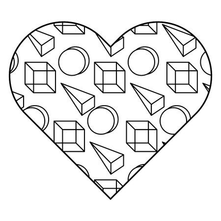 Label vorm hart verschillende geometrische figuren. Vector illustratie overzichtsafbeelding. Stock Illustratie