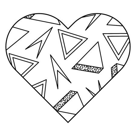 레이블 셰이프 심장 다른 기하학적 수치 벡터 일러스트 레이 션 개요 이미지입니다. 일러스트
