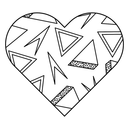 Label shape heart different geometric figures vector illustration outline image.
