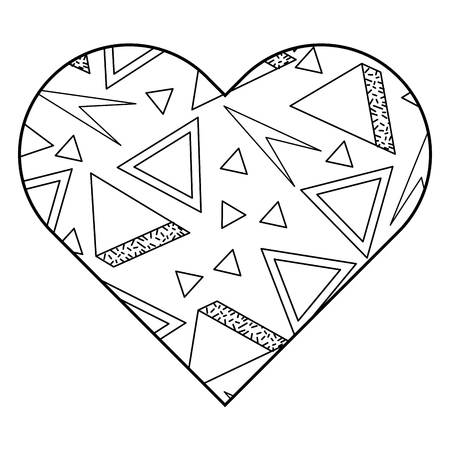 label shape heart different geometric figures vector illustration outline image