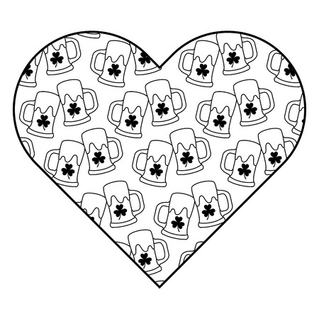 label shape heart with beer glass and clover vector illustration outline image