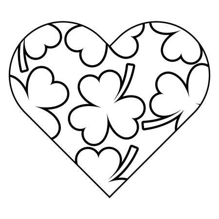 badge shape heart with clover decoration vector illustration outline image