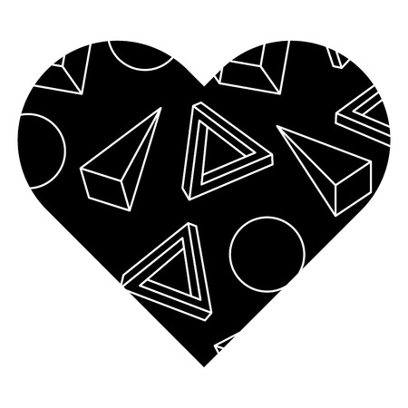 label shape heart different geometric figures vector illustration black background image Иллюстрация