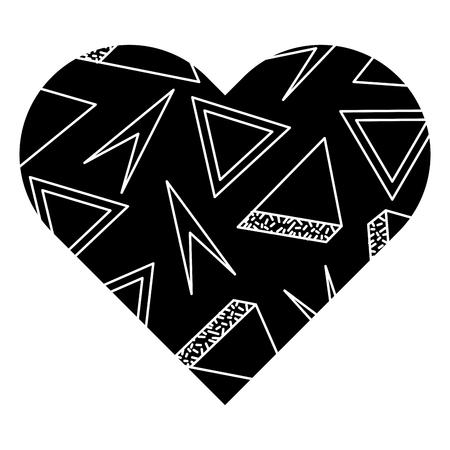ラベル形状ハート異なる幾何学的な数字ベクトルイラスト黒背景画像