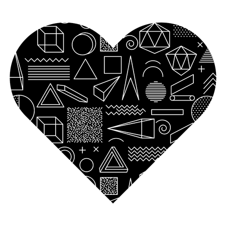 label shape heart different geometric figures vector illustration black background image 向量圖像