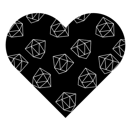 黒いハート型の背景に幾何学的な姿。ベクトルイラスト。