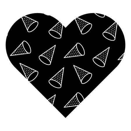 Label shape heart with different geometric figures. Vector illustration black background image. Reklamní fotografie - 93872017