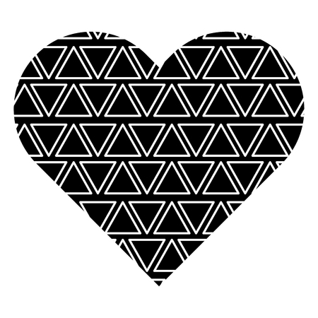 Label shape heart with different geometric figures. Vector illustration black background image. 向量圖像