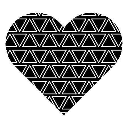 Label vorm hart met verschillende geometrische figuren. Vector illustratie zwarte achtergrondafbeelding. Stock Illustratie