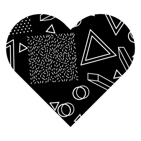 label vorm hart verschillende geometrische figuren vector illustratie zwarte achtergrondafbeelding Stock Illustratie